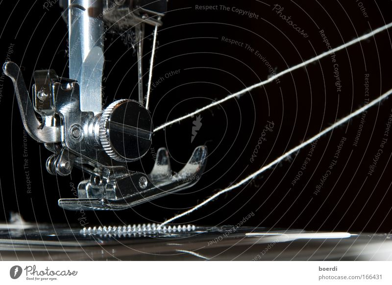 unfastened Black & white photo Studio shot Detail Macro (Extreme close-up) Neutral Background Flash photo Deep depth of field Sewing machine Technology