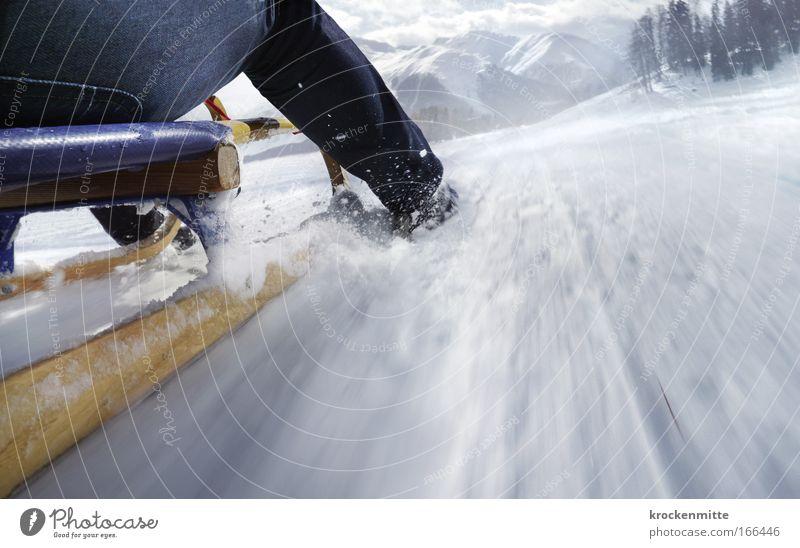 Human being Landscape Joy Winter Mountain Snow Legs Leisure and hobbies Footwear Speed Peak Alps Snowcapped peak Haste Jeans Switzerland