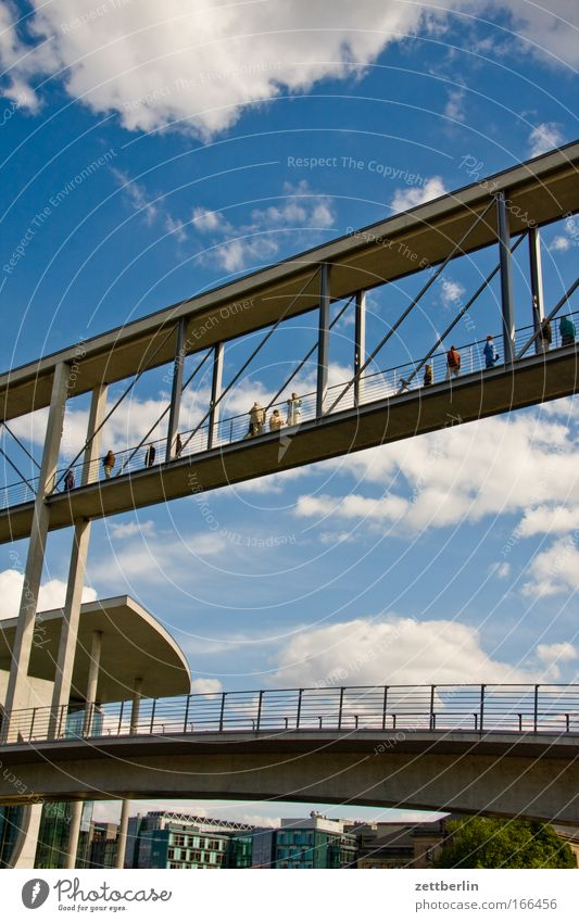 Water Sky Summer Clouds Berlin Architecture Germany Bridge Capital city Copy Space Channel Spree Pedestrian bridge Pedestrian crossing Seat of government