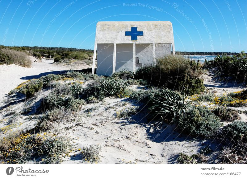 blue instead of red Crucifix Beach Rescue First Aid Majorca Bay watch Beach hut Blue Beach dune Marram grass Deserted Hut