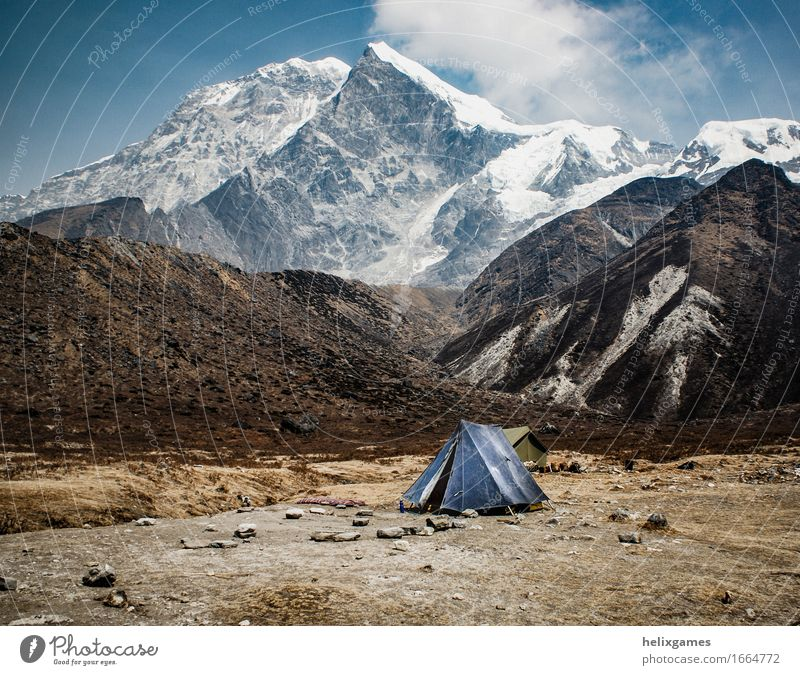 tent below the mountain Adventure Expedition Camping Snow Mountain Hiking Landscape Sky Clouds Himalayas Peak Glacier Blue Loneliness Kanchenjunga Sikkim