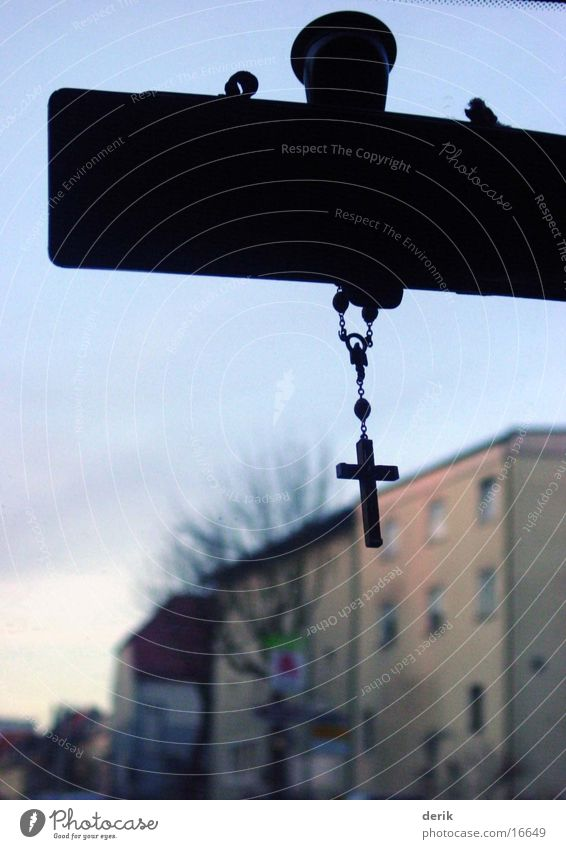 House (Residential Structure) Transport Motoring Belief Christian cross Christianity Windscreen Rear view mirror Wooden cross