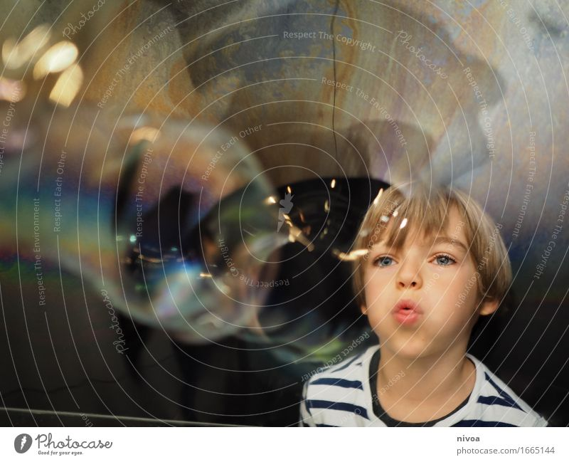 Human being Child Water Movement Boy (child) Playing Happy Head Masculine Dream Glittering Blonde Infancy Large Observe Cute