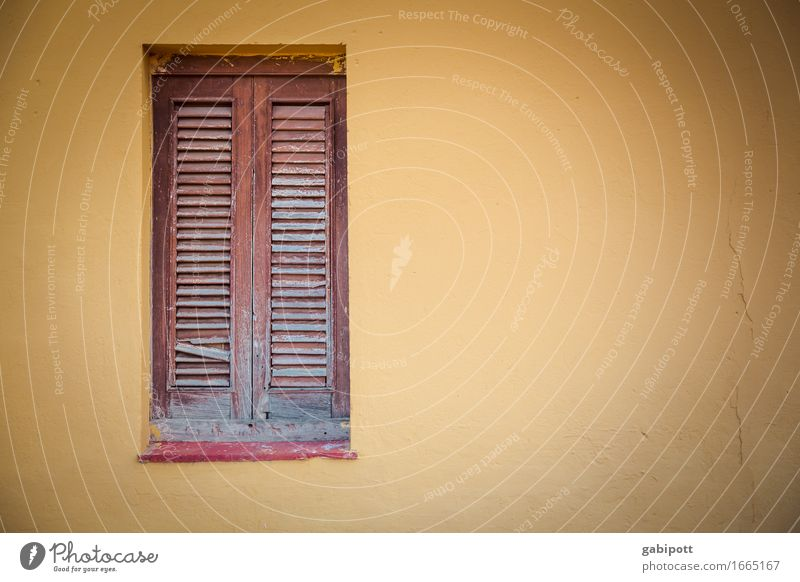 Window to Town House (Residential Structure) Wall (barrier) Wall (building) Facade Brown Yellow Colour Nostalgia Decline Past Transience Closed Shutter