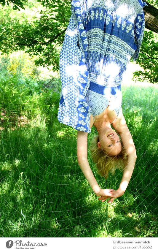 Let your soul dangle Colour photo Exterior shot Day Nature Sun Summer Beautiful weather Tree Meadow To enjoy Hang Smiling Illuminate Authentic Friendliness