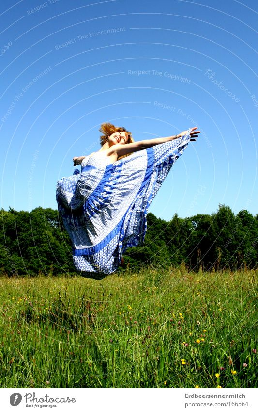 Human being Youth (Young adults) Beautiful Sky Summer Joy Meadow Feminine Jump Grass Happy Air Contentment Blonde Adults