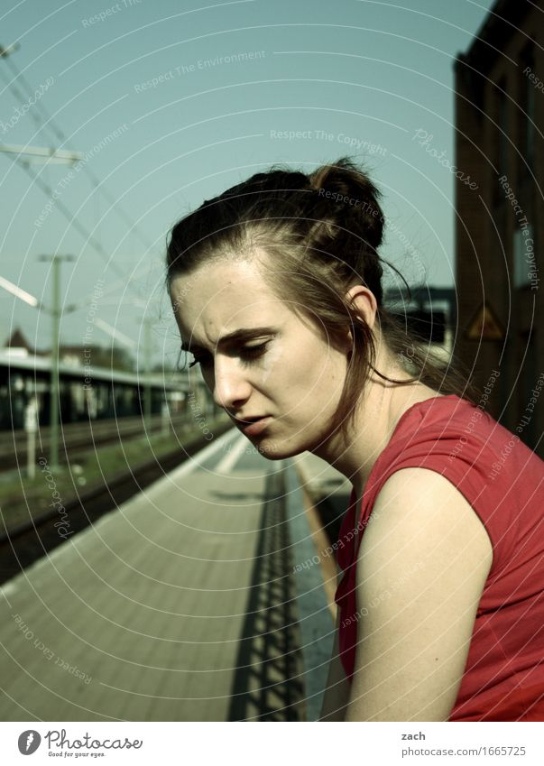 ordered and not picked up... Human being Feminine Young woman Youth (Young adults) Woman Adults 1 18 - 30 years Small Town Train station Train travel Platform