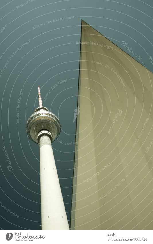 subtleties Sky Berlin Town Capital city Downtown Skyline Deserted Tower Tourist Attraction Landmark Television tower Berlin TV Tower Blue Gray Subdued colour