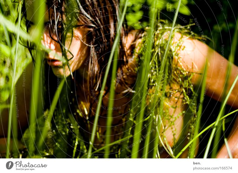 In nature Colour photo Exterior shot Day Downward Nutrition Human being Feminine Young woman Youth (Young adults) Woman Adults Head 1 18 - 30 years Environment