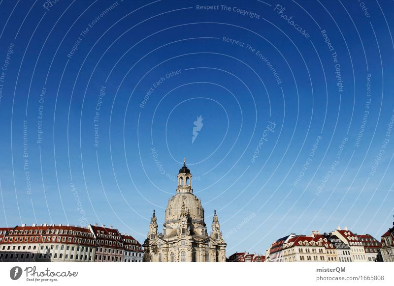 Dresden I Art Painting and drawing (object) Esthetic Frauenkirche Germany Tourist Attraction Skyline Historic Blue sky Renaissance Church Religion and faith