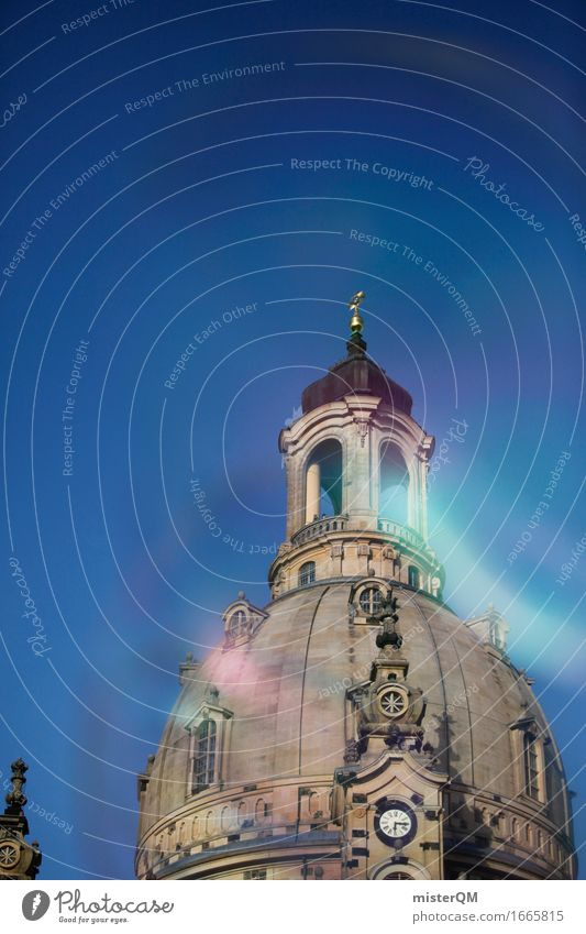 Dresden II Art Architecture Esthetic Building Part of a building Frauenkirche Roof Blue sky Church Colour photo Exterior shot Experimental Abstract Deserted