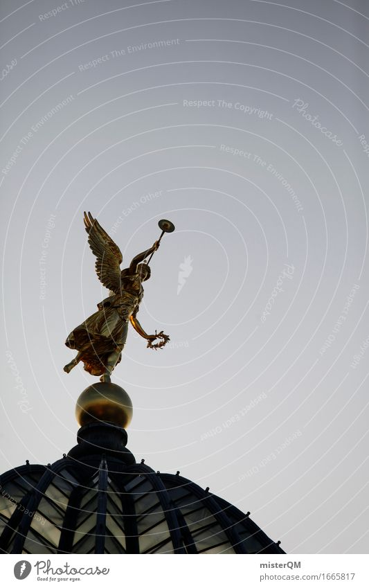 Dresden IV Art Work of art Esthetic Angel Datura Historic Impressive Roof Heavenly Gold Belief Hope Happiness Upward Colour photo Multicoloured Exterior shot