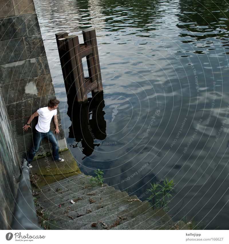 Human being Man Water Ocean Adults Wall (building) Coast Gray Wall (barrier) Stone Watercraft Waves Fear Stairs Observe Harbour