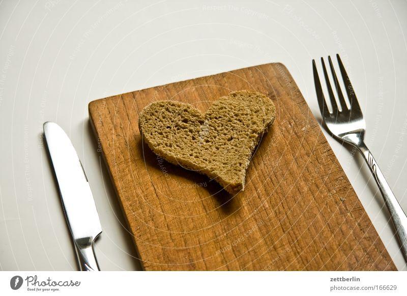 heart Food Bread Nutrition Breakfast Cutlery Knives Fork Happy Harmonious Valentine's Day Heart Love Romance Wooden board Chopping board Colour photo