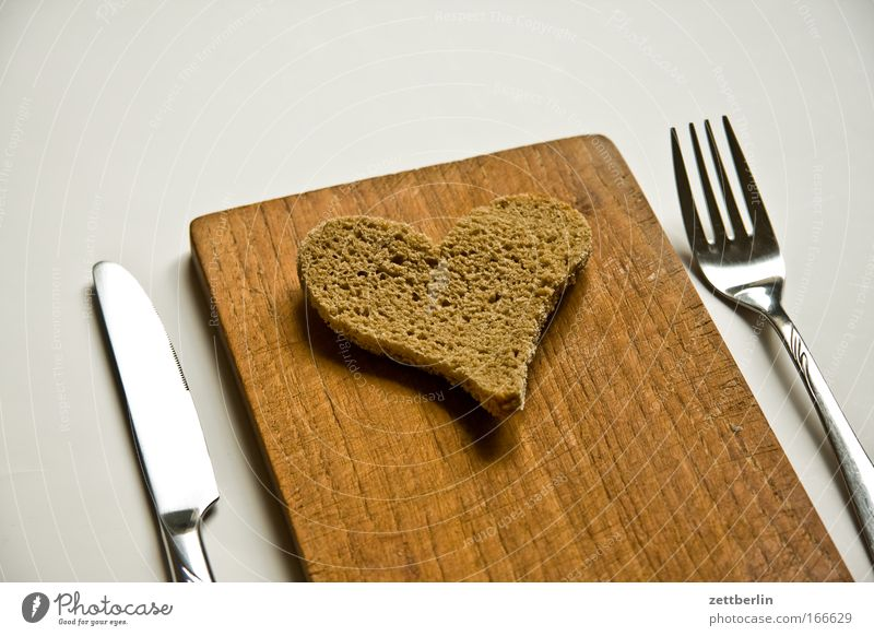 Love Happy Nutrition Heart Food Romance Symbols and metaphors Baked goods Breakfast Bread Wooden board Wood Harmonious Knives Chopping board Cutlery