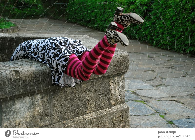 Human being Youth (Young adults) Relaxation Feminine Style Stone Feet Legs Adults Pink Back Bottom To fall Well Curiosity