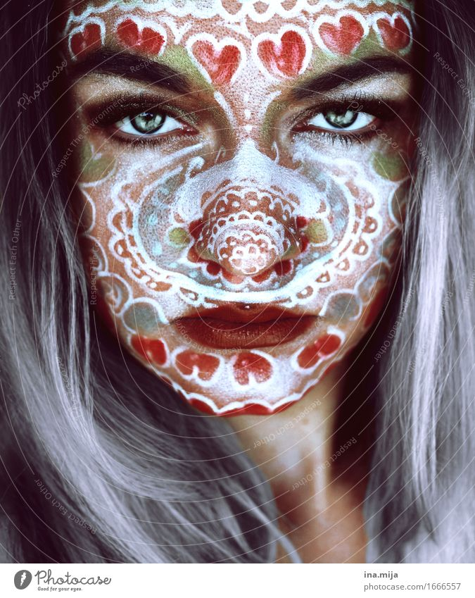 Face of a young woman with grey hair and face paint Design Exotic pretty Skin Make-up Human being Feminine Young woman Youth (Young adults) Woman Adults Life 1