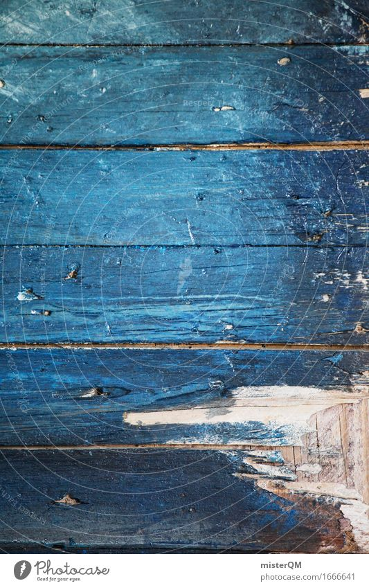 Blue plank I Art Work of art Esthetic Wood Wooden board Wooden table Wooden floor Board Woody Chopping board Old fashioned Style Plank Colour photo