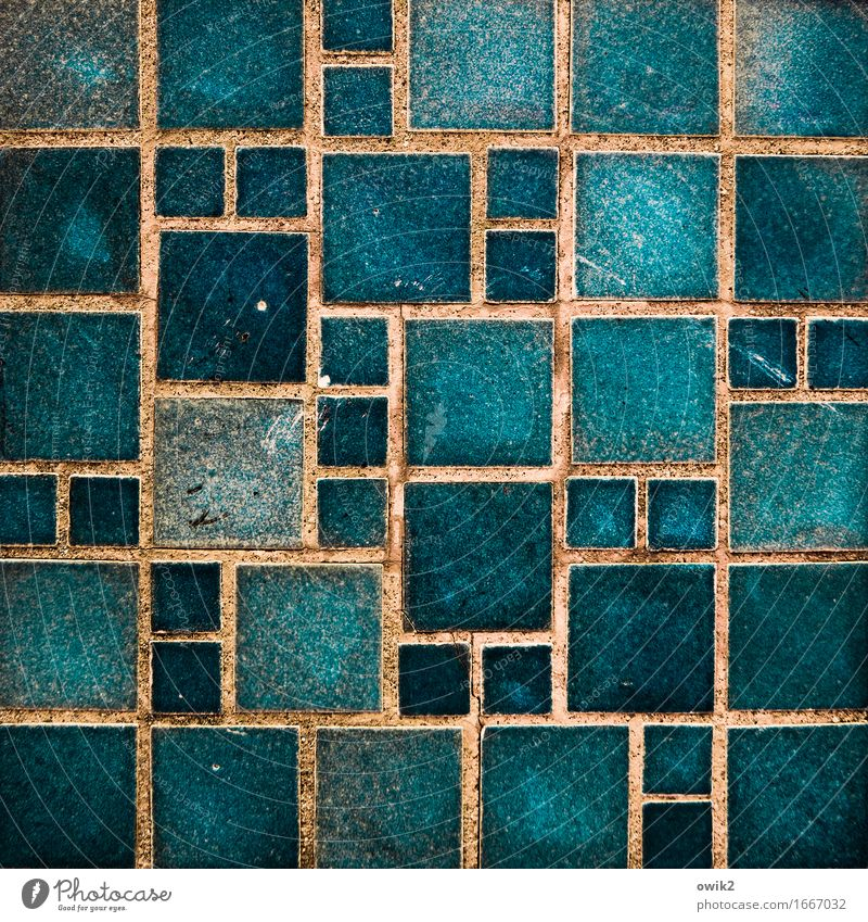 algorithm Wall (barrier) Wall (building) Facade Ornamental stone Sharp-edged Together Retro Blue Orange Turquoise Esthetic Accuracy Contentment Equal Complex
