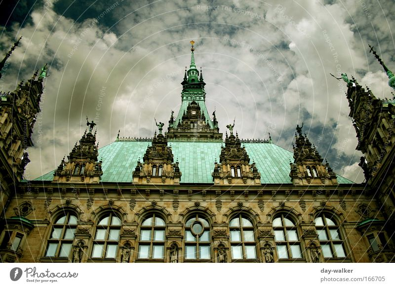 White Green Blue House (Residential Structure) Window Building Architecture Hamburg Facade Roof Manmade structures Landmark Tourist Attraction City hall Hamburg city hall