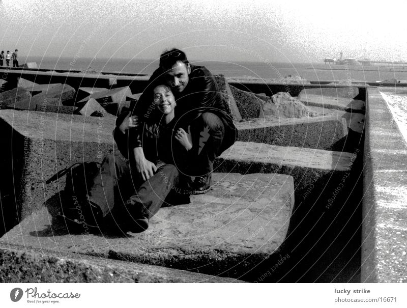 Group Couple Concrete Horizon North Sea Human being
