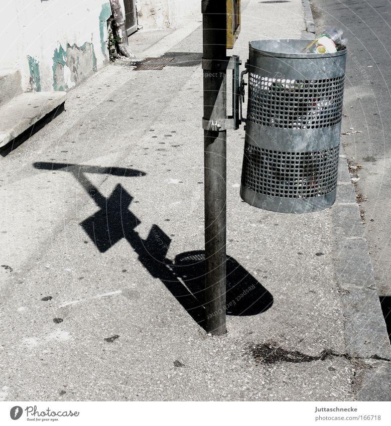 Street Gray Wait Dirty Transport Gloomy Trash Transience Sidewalk Hideous Full Environmental pollution Grating Trash container Stop (public transport) Curbside