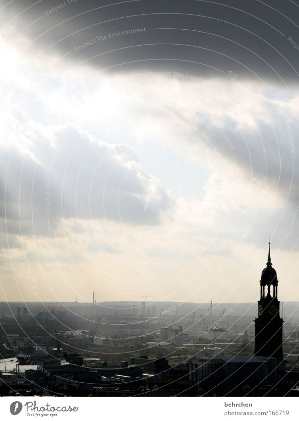 Sky Sun City Clouds Gray Architecture Fog High-rise Free Hamburg Church Roof Harbour Fantastic Manmade structures