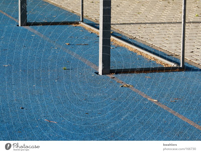 blue is also beautiful... Colour photo Exterior shot Detail Abstract Deserted Shadow Ball sports Soccer Soccer Goal Football pitch Blue Empty Day