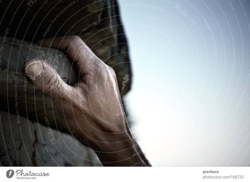 Human being Man Blue Hand Summer Adults Sports Mountain Gray Power Fear Rock Leisure and hobbies Arm Adventure Fingers