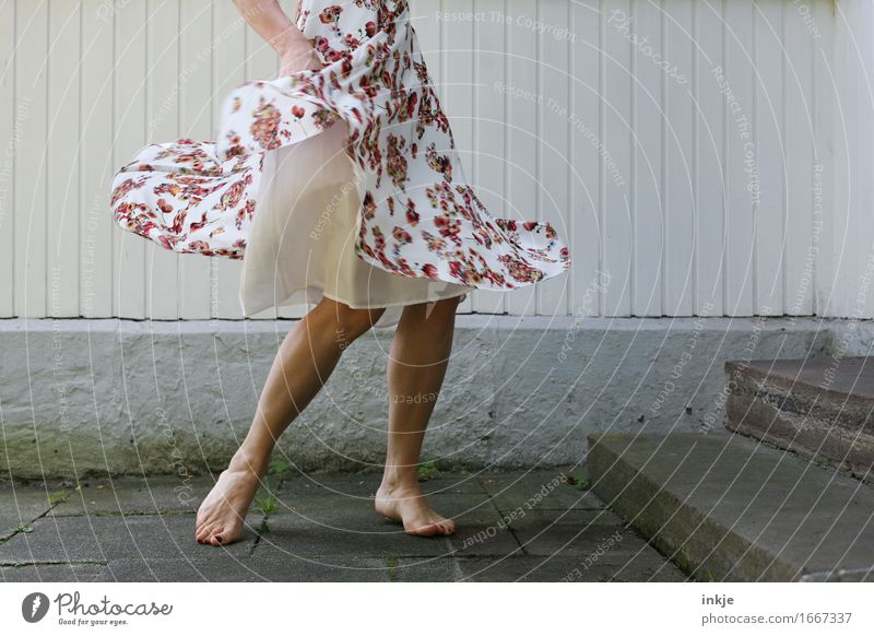 dance Lifestyle Joy Leisure and hobbies Woman Adults Legs Feet Woman's leg 1 Human being Wall (barrier) Wall (building) Facade Terrace Fashion Dress