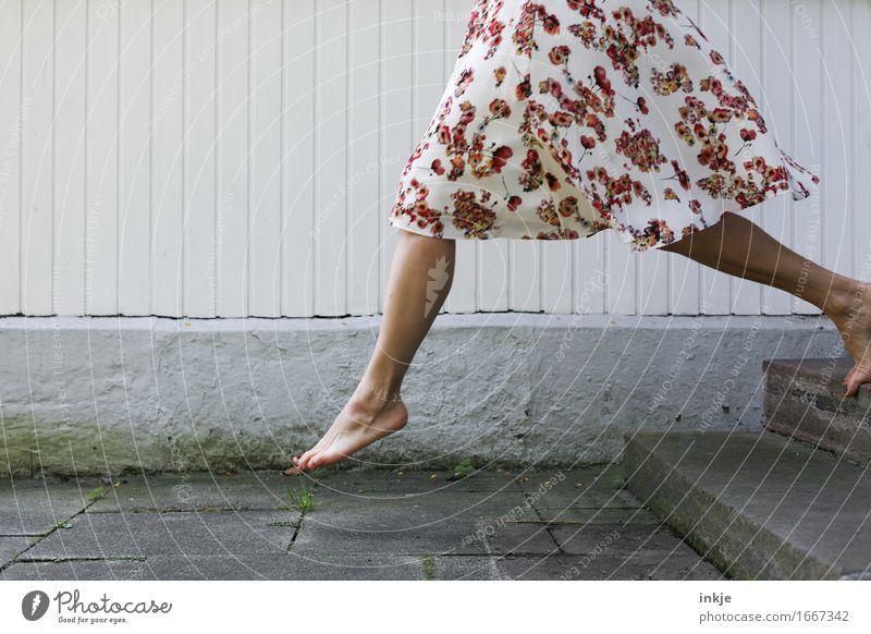 Human being Woman Beautiful Joy Adults Life Emotions Feminine Lifestyle Legs Fashion Feet Going Facade Jump Stairs