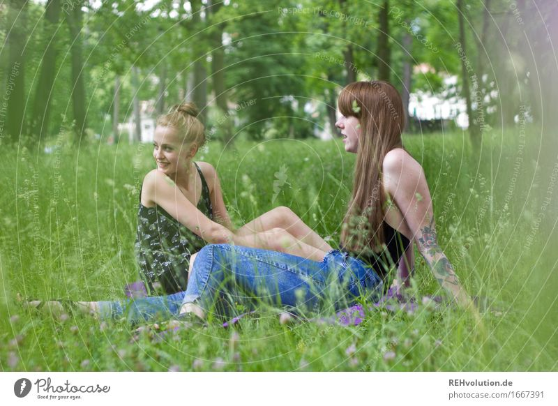 Human being Woman Nature Youth (Young adults) Plant Green Young woman Relaxation Joy 18 - 30 years Adults Environment To talk Meadow Grass Feminine