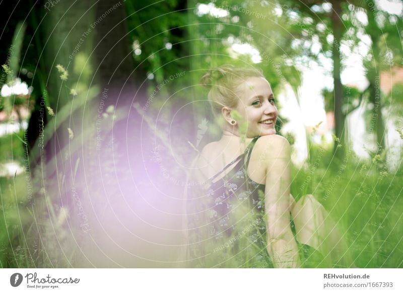 Alexa in the meadow. Human being Feminine Young woman Youth (Young adults) Face 1 18 - 30 years Adults Environment Nature Flower Grass Garden Park Meadow
