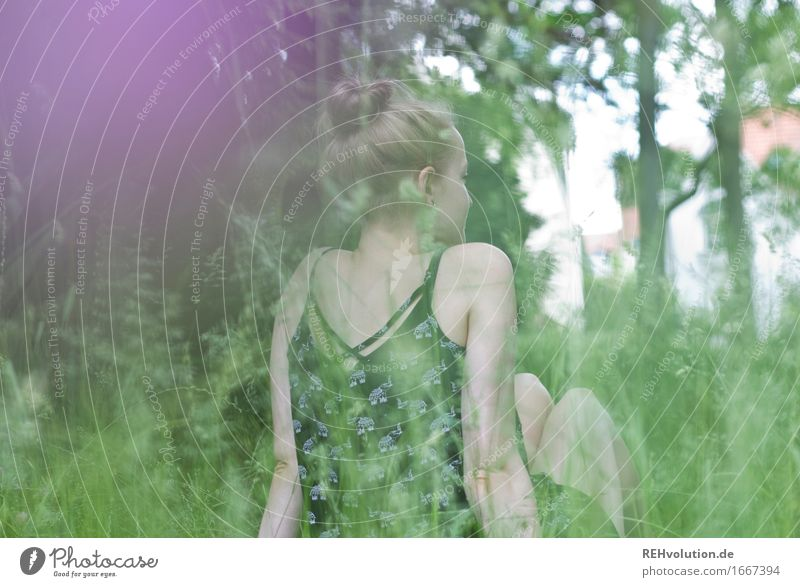 Alexa in the meadow. Lifestyle Style Joy Happy Well-being Contentment Relaxation Calm Vacation & Travel Summer Human being Feminine Back 1 18 - 30 years