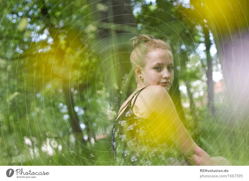 Alexa in the park Human being Feminine Young woman Youth (Young adults) 1 18 - 30 years Adults Summer Tree Flower Grass Blossom Park Meadow Blonde Long-haired