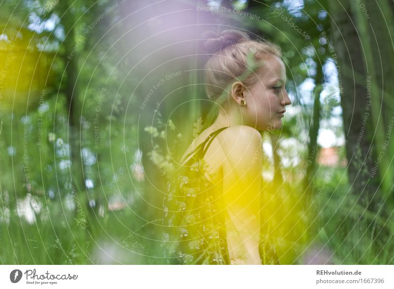Alexa in the park Human being Feminine Young woman Youth (Young adults) Woman Adults 1 18 - 30 years Environment Nature Plant Flower Park Meadow Earring Blonde
