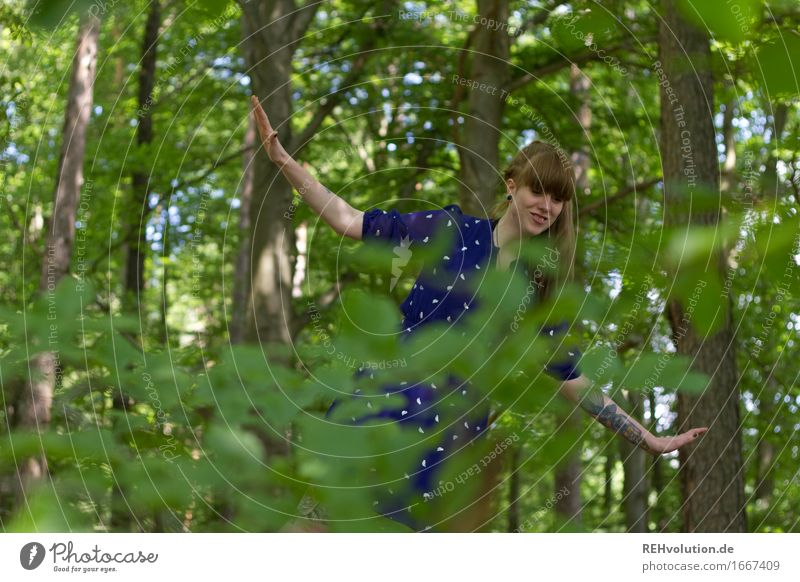Blueing up in the woods. Human being Feminine Young woman Youth (Young adults) 1 18 - 30 years Adults Environment Nature Summer Tree Leaf Forest Dress Bangs