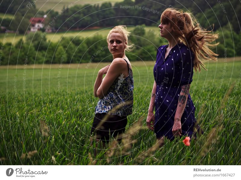 Human being Woman Nature Youth (Young adults) Green Young woman Landscape Dark 18 - 30 years Adults Environment Feminine Exceptional Hair and hairstyles Friendship Field