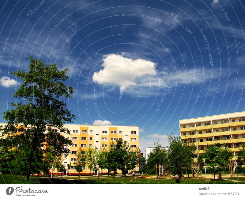 Sky City Plant Blue Tree Landscape Clouds House (Residential Structure) Yellow Wall (building) Architecture Spring Meadow Style Building Wall (barrier)