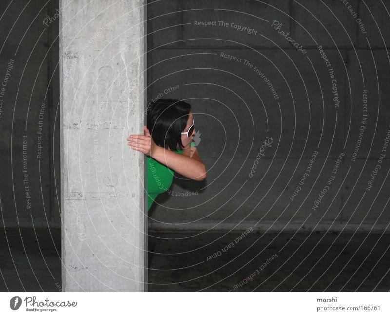 Human being Green Dark Emotions Gray Fear Arm Concrete Dangerous Eyeglasses Observe Tunnel Hunting Hide Fear of death Column
