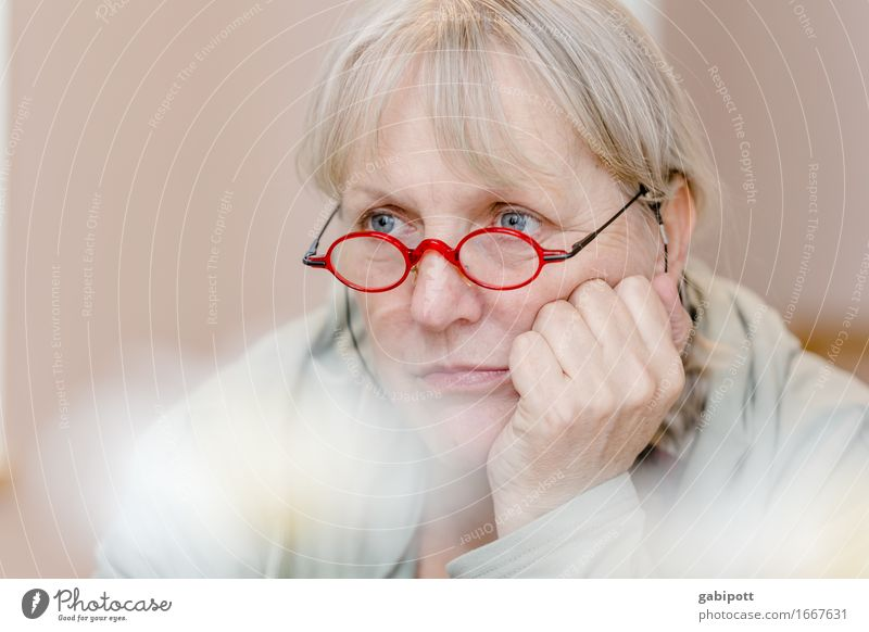 Human being Woman Beautiful Red Loneliness Adults Life Sadness Natural Feminine Think Dream 45 - 60 years Eyeglasses Friendliness Longing
