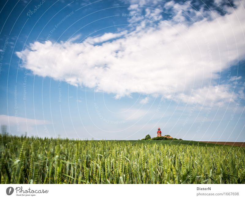 On the field Nature Landscape Sky Clouds Spring Weather Beautiful weather Field Deserted Building Architecture Tourist Attraction Blue Green White Lighthouse