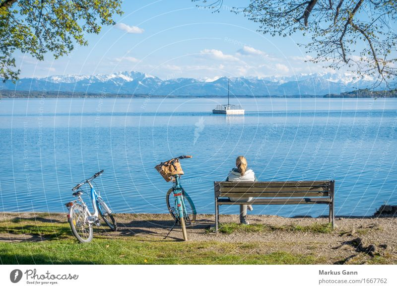 rest Vacation & Travel Human being Feminine Woman Adults Nature Water Lakeside Wait Blue Serene Calm Germany Starnberg Lake Starnberg tutzing Bicycle Bench