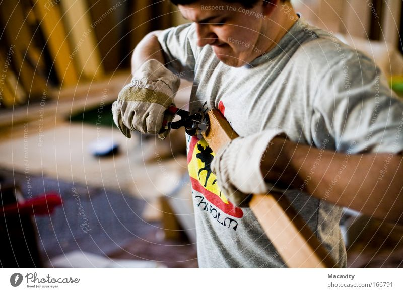 Human being Hand Wood Gray Power Arm Masculine Authentic Broken Cool (slang) Construction site T-shirt Factory Passion Craft (trade) Tool