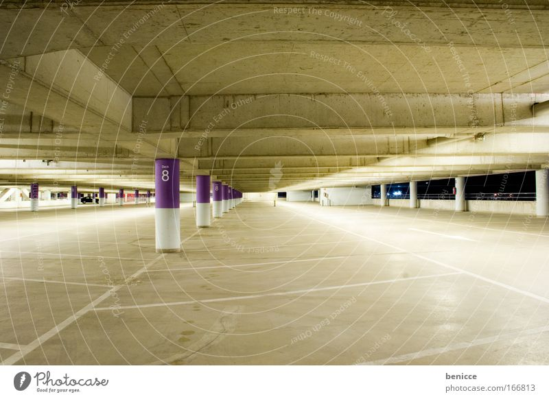 parkinger Parking garage Parking lot Empty Night Concrete Architecture Lamp Arrow One-way street Ground Ceiling Night shot Threat Deserted Violet Colour Dye