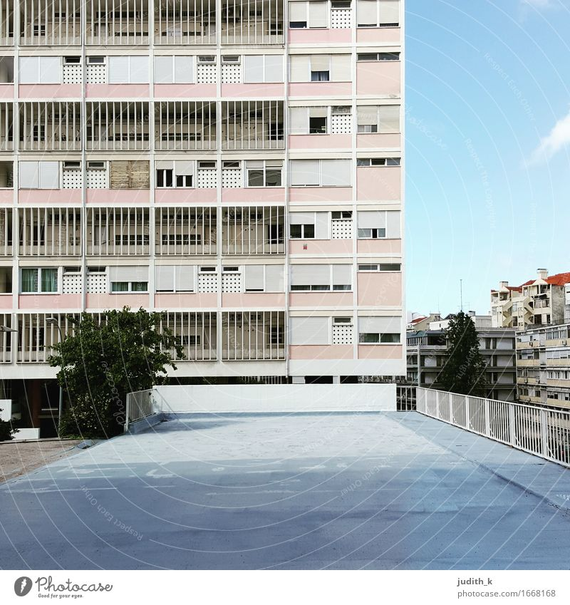 House Rosa Town Deserted High-rise Manmade structures Building Architecture House location housing Tower block Facade Retro Gray Pink Orderliness Arrangement
