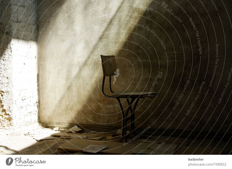 Old Calm Loneliness Far-off places Dark Wall (building) Wall (barrier) Brown Flat (apartment) Empty Esthetic Retro Chair Living or residing Transience Serene