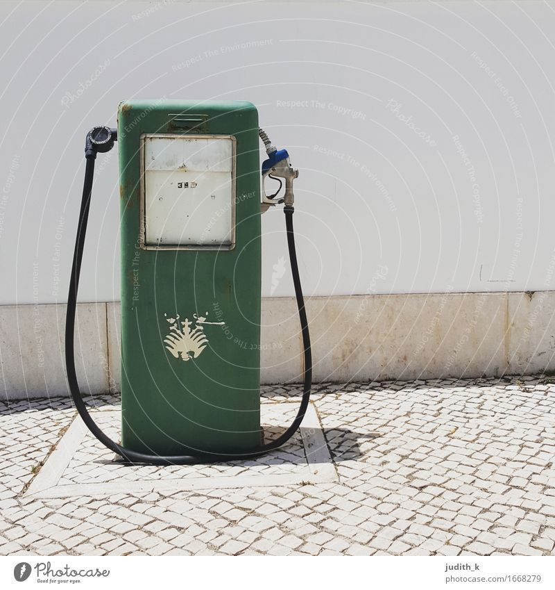 lonely gas pump Deserted Retro Clean Gray Green White Services Refuel Petrol station Petrol pump Gasoline Diesel Premium gasoline Heraldic animal Slope Tilt