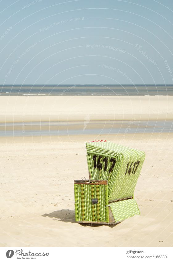 no. 1417 Colour photo Subdued colour Exterior shot Deserted Copy Space top Day Landscape Beautiful weather Coast North Sea Langeoog Loneliness Beach chair