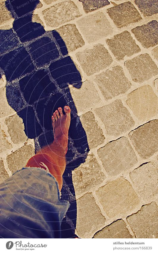 Always one foot on the ground Colour photo Multicoloured Masculine Young man Youth (Young adults) Legs Feet 1 Human being Contentment